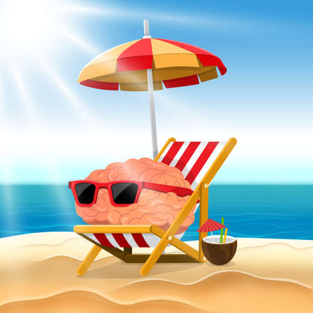 Illustration cartoon concept brain relax on the beach. Vector illustrate.