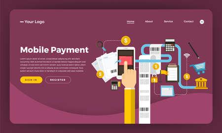 Mock-up design website flat design concept digital marketing. Mobile Payment. Vector illustration.