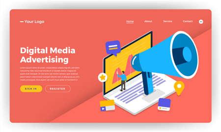 Mock-up design website flat design concept digital marketing. Online Banner Advertising.  Vector illustration. Illustration