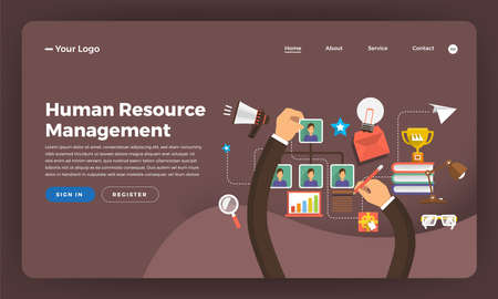 Mock-up design website flat design concept digital marketing. Human Resource Management.  Vector illustration.