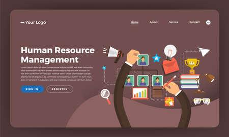 Mock-up design website flat design concept digital marketing. Human Resource Management.  Vector illustration.
