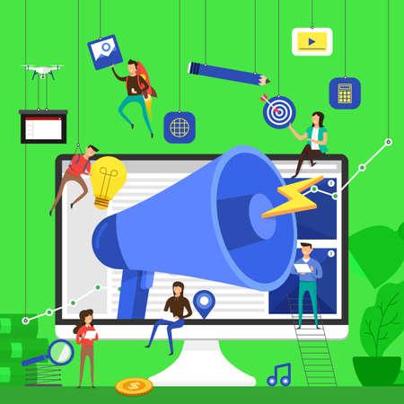 Flat design concept team working for advertising present by big megaphone on desktop. Vector illustrate. Vettoriali