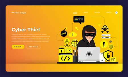 Mock-up design website flat design concept hacker activity cybercrime and cyber thief.  Vector illustration. Stok Fotoğraf - 102336620
