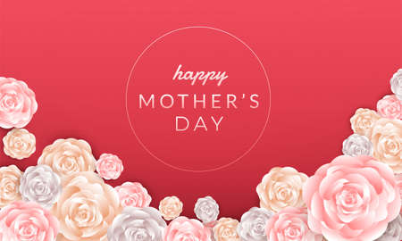 Happy mothers day layout design with roses, lettering, paper cut and texture background. Vector illustration.