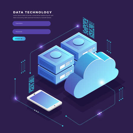 Isometric flat design concept cloud technology data transfer and storage. Connecting information. Vector illustrations. Ilustracja
