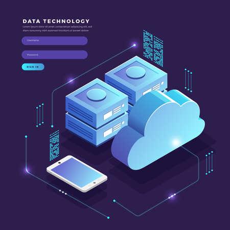 Transferencia y almacenamiento de datos de tecnología de nube de concepto de diseño plano isométrico. Conectando información. Ilustraciones vectoriales.