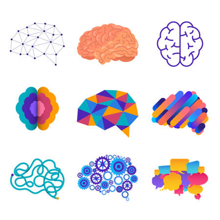 The human silhouette sees the brain in the head, which is connected to the brain. Vector illustrations. Illusztráció