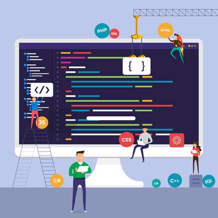 Programa de codificación de programador de concepto de diseño plano. Vector ilustrar.
