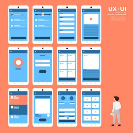 Diagramma di flusso dell'interfaccia utente UX. Design piatto del concetto di applicazione mobile mock-up. Illustrazione vettoriale