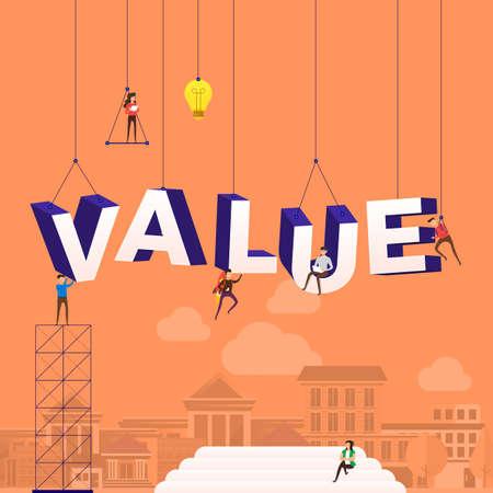 Concept de design plat personnes travaillant pour la construction de la valeur du texte. Illustration vectorielle. Vecteurs