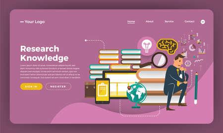 Mock-up design website flat design concept digital marketing. Research Knowledge.  Vector illustration.