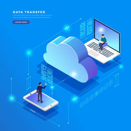 Transferencia y almacenamiento de datos de tecnología de nube de concepto de diseño plano isométrico. Conectando información. Ilustraciones vectoriales. Ilustración de vector