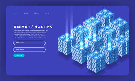 Mock-up design website flat design concept server hosting information. Vector illustration. Ilustrace