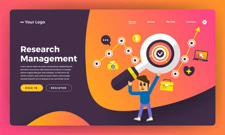 Mock-up design website flat design concept research management. Vector illustration. Stock Illustratie