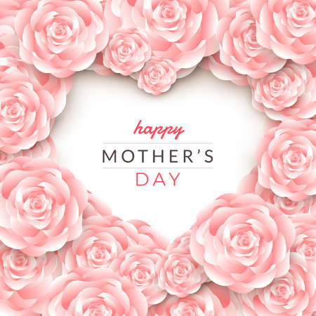 Happy mother's day layout design with roses, lettering, paper cut and texture background. Vector illustration.