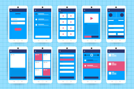 UX UI Flowchart. Mock-ups  mobile application concept flat design. Vector illustration  イラスト・ベクター素材