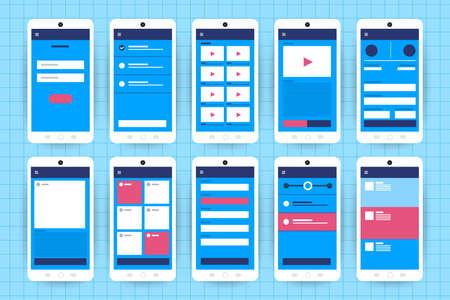UX UI-stroomdiagram. Mock-ups mobiele applicatie concept plat ontwerp. Vector illustratie