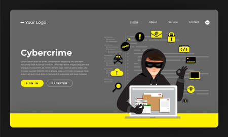 Mock-up design website flat design concept hacker activity cybercrime and cyber thief.  Vector illustration.