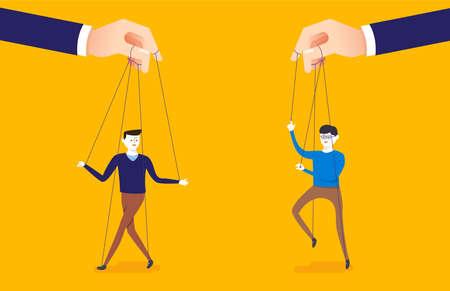 Illustration de concept d'entreprise de grosse main et un homme d'affaires contrôlé par le maître de marionnettes. Vecteurs