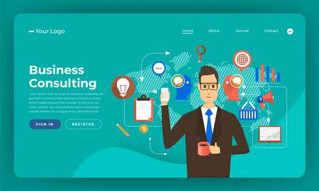 Diseño de maqueta concepto de diseño plano de sitio web marketing digital. Solución de consultoría empresarial. Ilustración de vector.