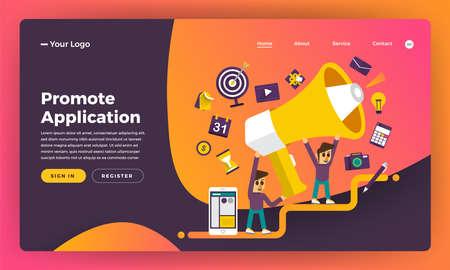 Mock-up design website flat design concept promote application. Vector illustration.