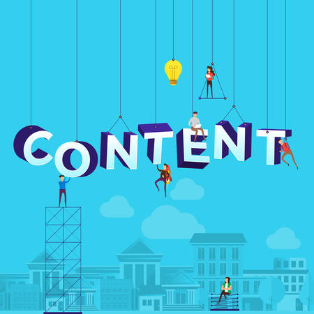 "Flat design concept small people working typography word ""CONTENT"". Vector illustrate."