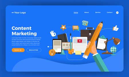 Mock-up design website flat design concept digital marketing. Content Marketing. Vector illustration.