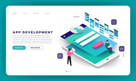 Mock-up design website flat design concept app development with developer coding and working together. Vector illustration. 向量圖像