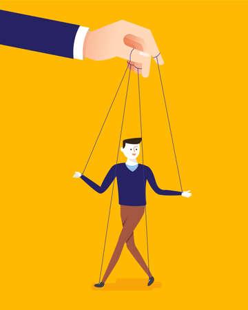 Bedrijfsconceptenillustratie van grote hand en een zakenman die door poppenspeler wordt gecontroleerd.
