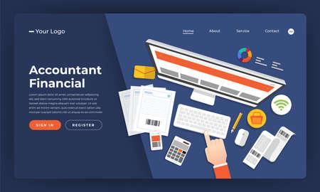 Mock-up design website flat design concept accountant financial.  Vector illustration.
