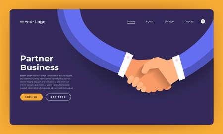 Mock-up design website flat design concept partner business deal.  Vector illustration. Illustration