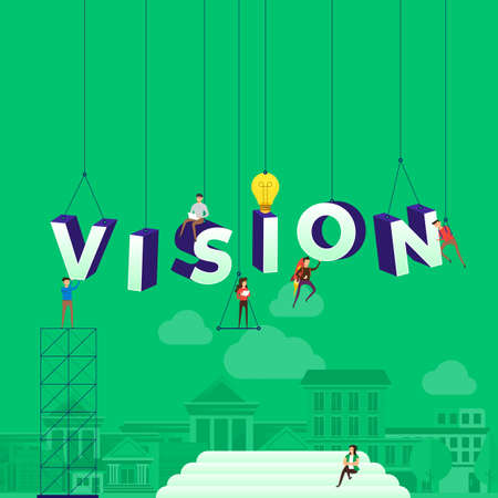 Flat design concept people working for building text VISION. Vector illustration.