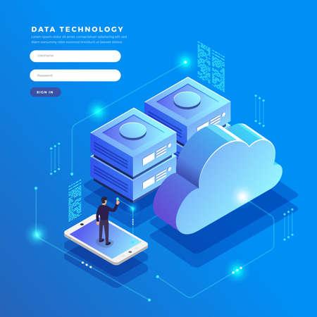 Izometryczny projekt płaski koncepcja technologii transferu i przechowywania danych w chmurze. Łączenie informacji. Ilustracje wektorowe.