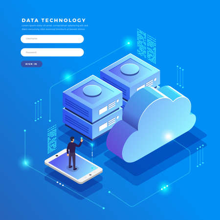 Transfert et stockage de données de technologie de nuage de concept de design plat isométrique. Informations de connexion. Illustrations vectorielles.