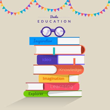 Flat design concept books. Education and learning with a books. Vector illustrate. Vettoriali