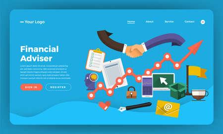 Mock-up design website flat design concept digital marketing. Financial Adviser.  Vector illustration.
