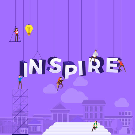 Flat design concept people working for building text INSPIRE. Vector illustration.