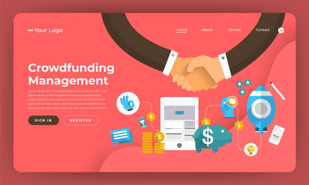 Mock-up design website flat design concept digital marketing. Crowdfunding Management. Vector illustration. Иллюстрация