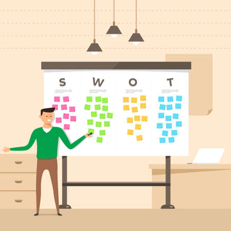Illustration concept the man present with whiteboard analyze SWOT. Vector illustrate.