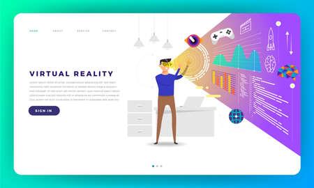 Mock-up design website flat design concept virtual Reality platform (VR). The man standup with VR Glasses play content inside. Vector illustration. Illustration
