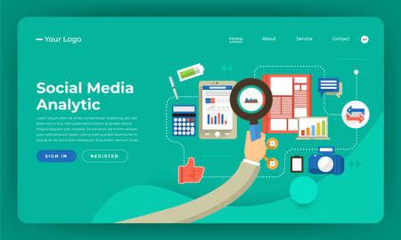 Mock-up design website flat design concept digital marketing. Social media analytic. Vector illustration.