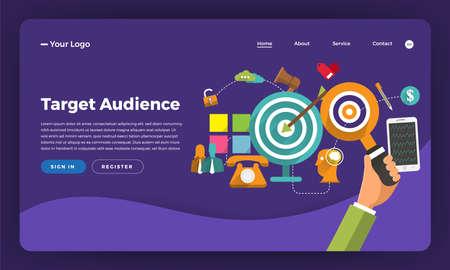 Mock-up design website flat design concept digital marketing. Target Audience.  Vector illustration.