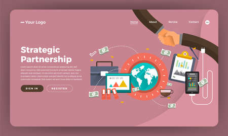 Mock-up design website flat design concept digital marketing. Strategic Partnership.  Vector illustration. Illustration