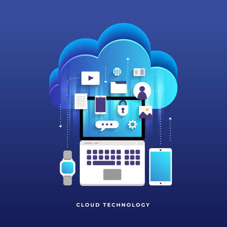 Flat design concept cloud computing technology users network configuration isometric. Vector illustration.  イラスト・ベクター素材
