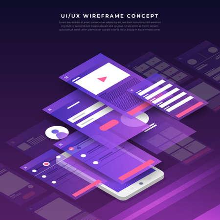 Diagramma di flusso dell'interfaccia utente UX. Design piatto isometrico del concetto di applicazione mobile di mock-up. Illustrazione vettoriale. Vettoriali