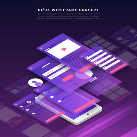 UX UI Flowchart. Mock-ups  mobile application concept isometric flat design. Vector illustration. Çizim