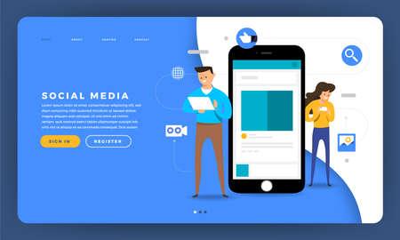 Mock-up design website flat design concept social media platform with human touch mobile device and smartphone screen. Vector illustration. Stock Illustratie