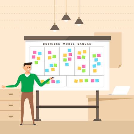 Illustratie concept de aanwezige man met whiteboard business model canvas. Vector illustreren. Vector Illustratie