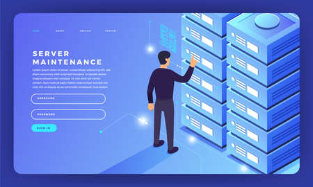 Mock-up design website flat design concept server hosting information. Vector illustration. Ilustracja