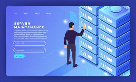 Projekt makiety strony internetowej koncepcja płaskiego projektu informacji o hostingu serwera. Ilustracji wektorowych.